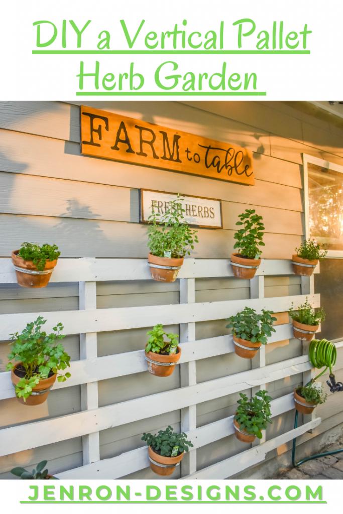 DIY Vertical Herb Pallet Pin JENRON DESIGNS