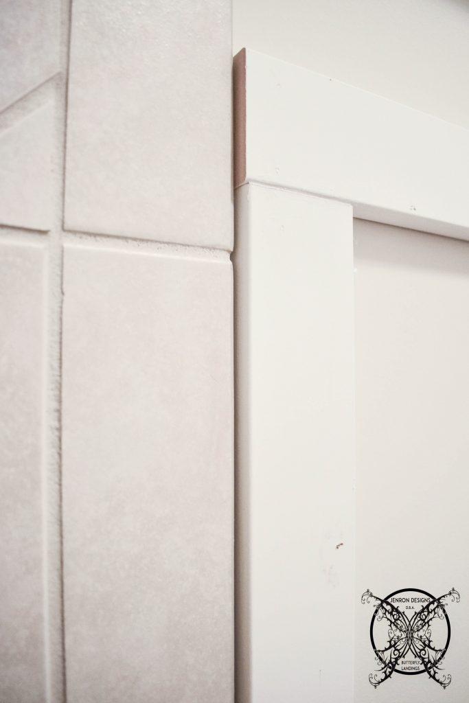 Board & Batten DIY next to tile JENRON DESIGNS