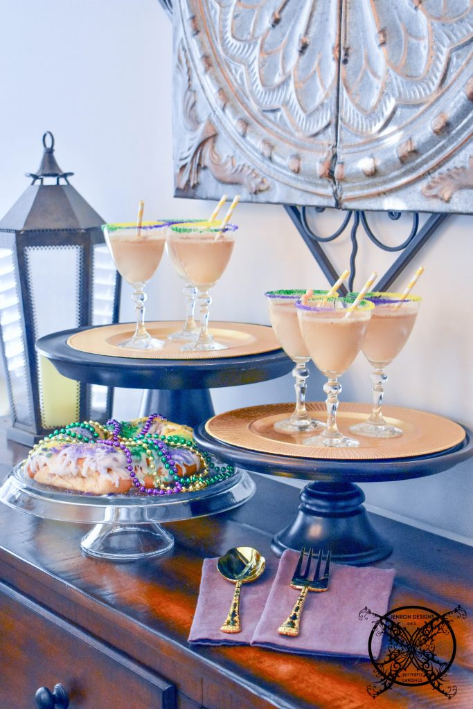 Serving King Cake Cocktails for your next party JENRON DESIGNS