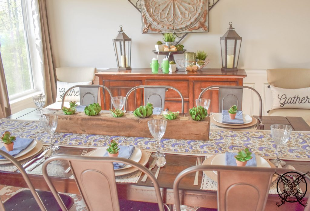 Succulents Decor Table setting JENRON DESIGNS.