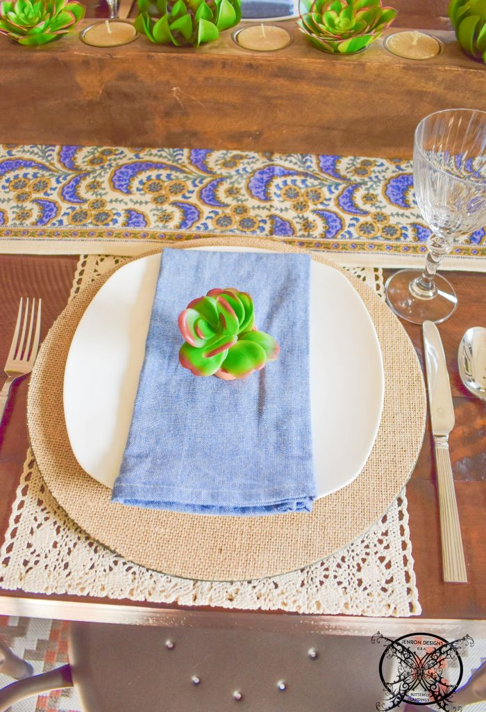Summer Succulents Place Setting JENRON DESIGNS