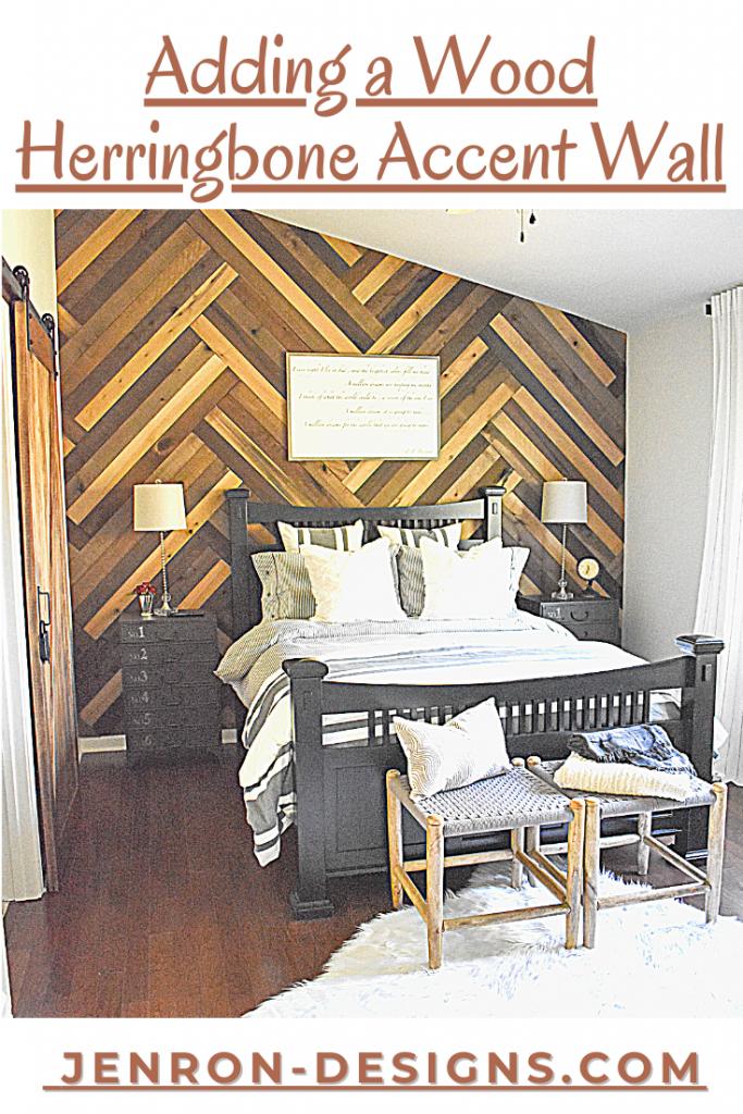 DIY Accent Barn Wood Herringbone Wall JENRON DESIGNS