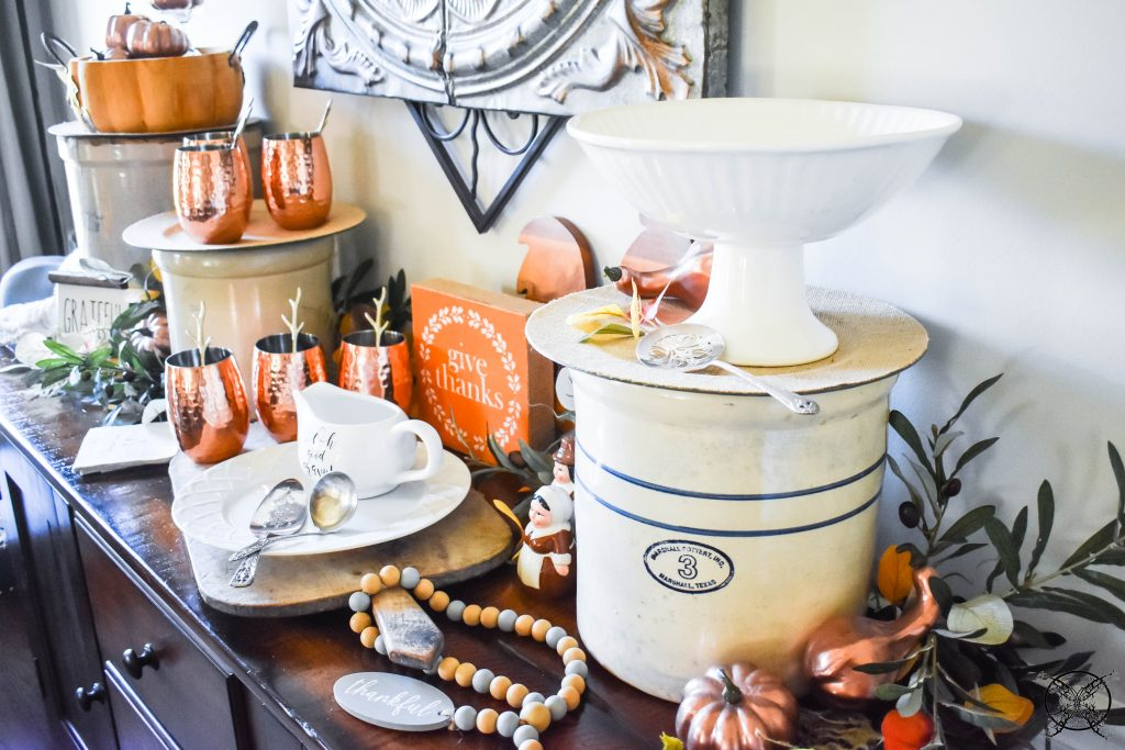 Vintage Crocks as Buffet Risers Thanksgiving Table & Gratitude Tree JENRON DESIGNS