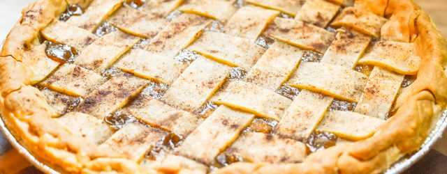 Lattice Top Caramel Pear Pie JENRON DESIGNS