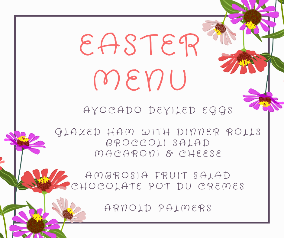 Easter Menu JENRON DESIGNS