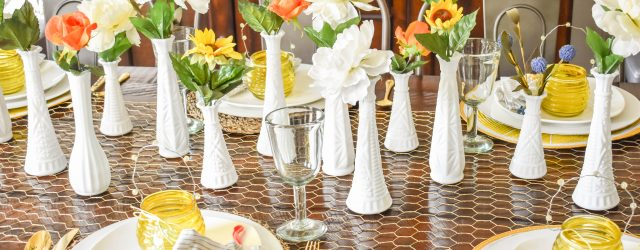 Beehappy Tablescape Milkglass JENRON DESIGNS