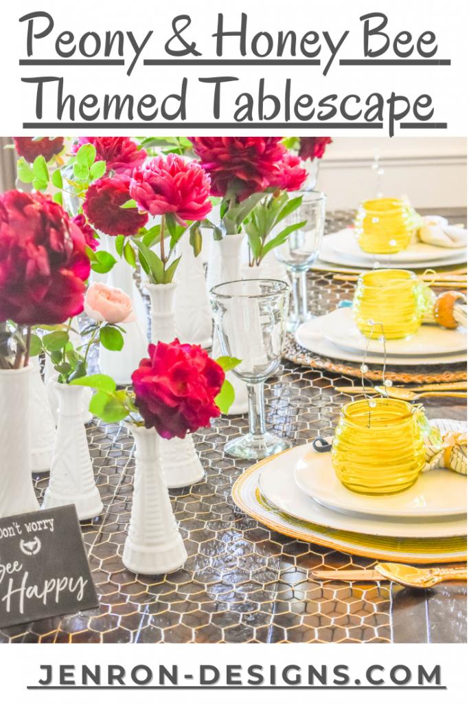Peony & Honey Bee Tablescape JENRON DESIGNS