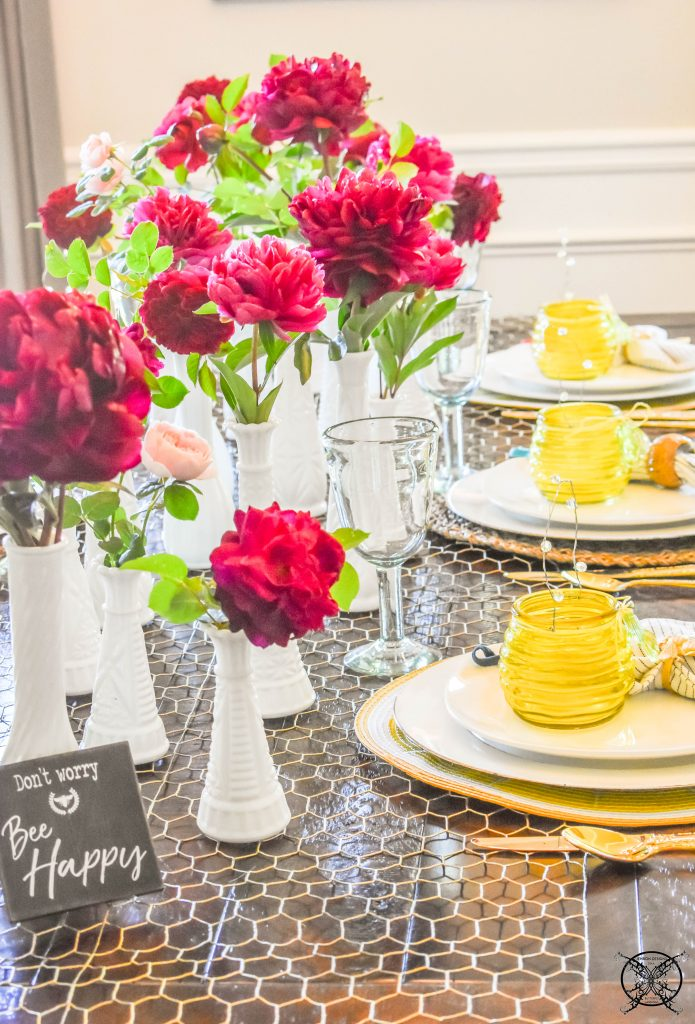 Peony & Rose Honey Bee Tablescape JENRON DESIGNS