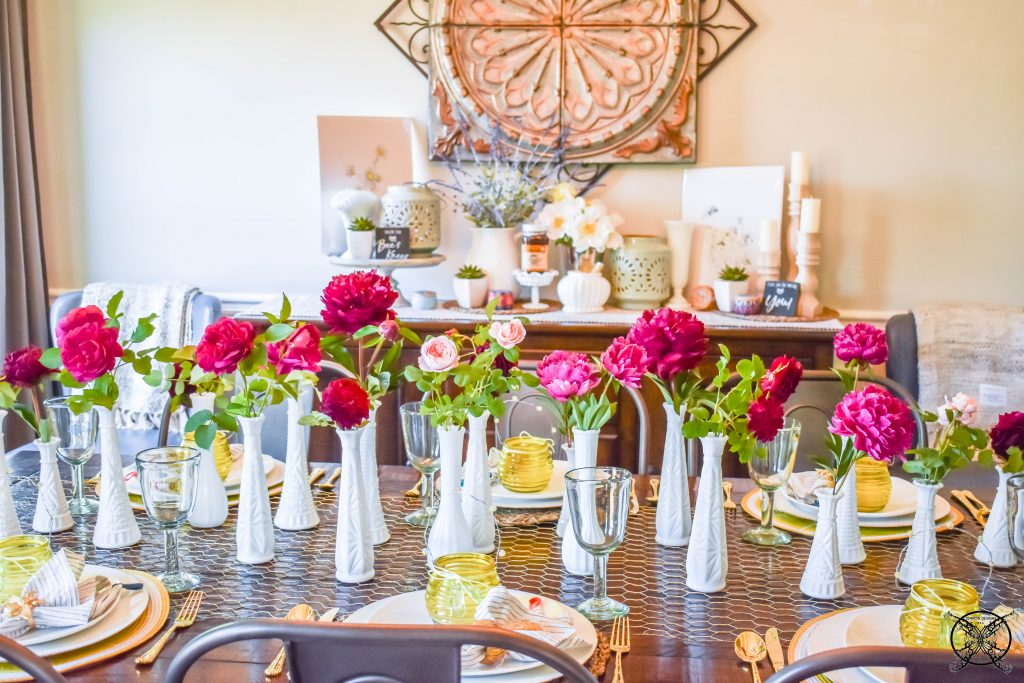 Peony & Roses on Honey Bee Table JENRON DESIGNS