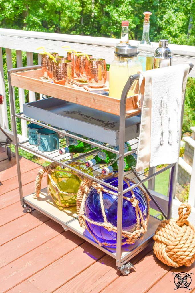 Beachy Bar Cart on the Patio JENRON DESIGNS