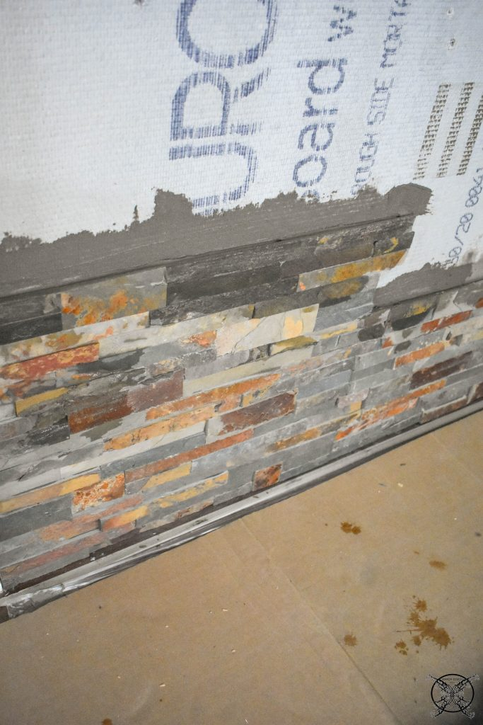 Working on Stone for Fireplace Wall JENRON DESIGNS