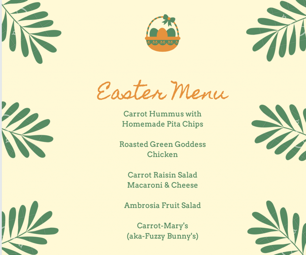 Easter Menu 2021 JENRON DESIGNS