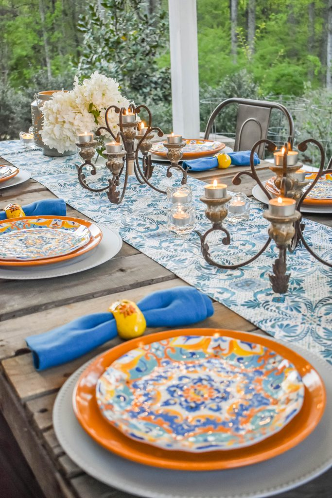 Outdoor Dining with Globe Lights JENRON DESIGNS.