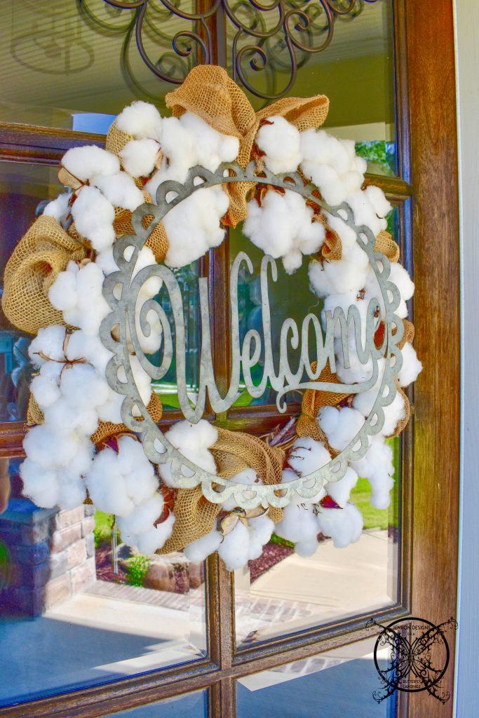 Fall Cotton & Burlap Wreath JENRON DESIGNS