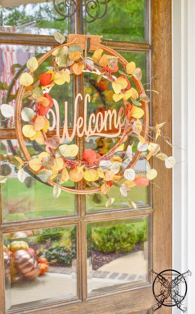 Fall Leaves Vintage Hoop Wreath JENRON DESIGNS